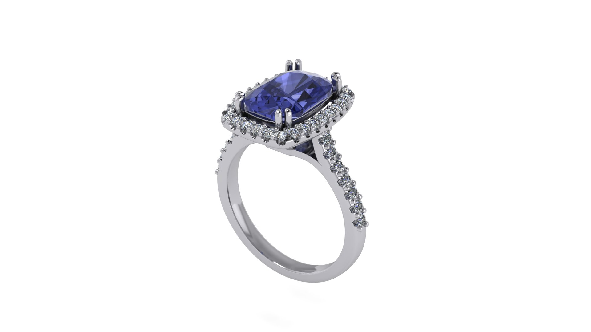 Cocktail Rings CAMILLE TANZANITE HALO COCKTAIL RING